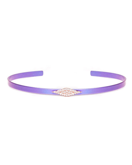 Cosmos Diamond Station Titanium Bracelet, Purple