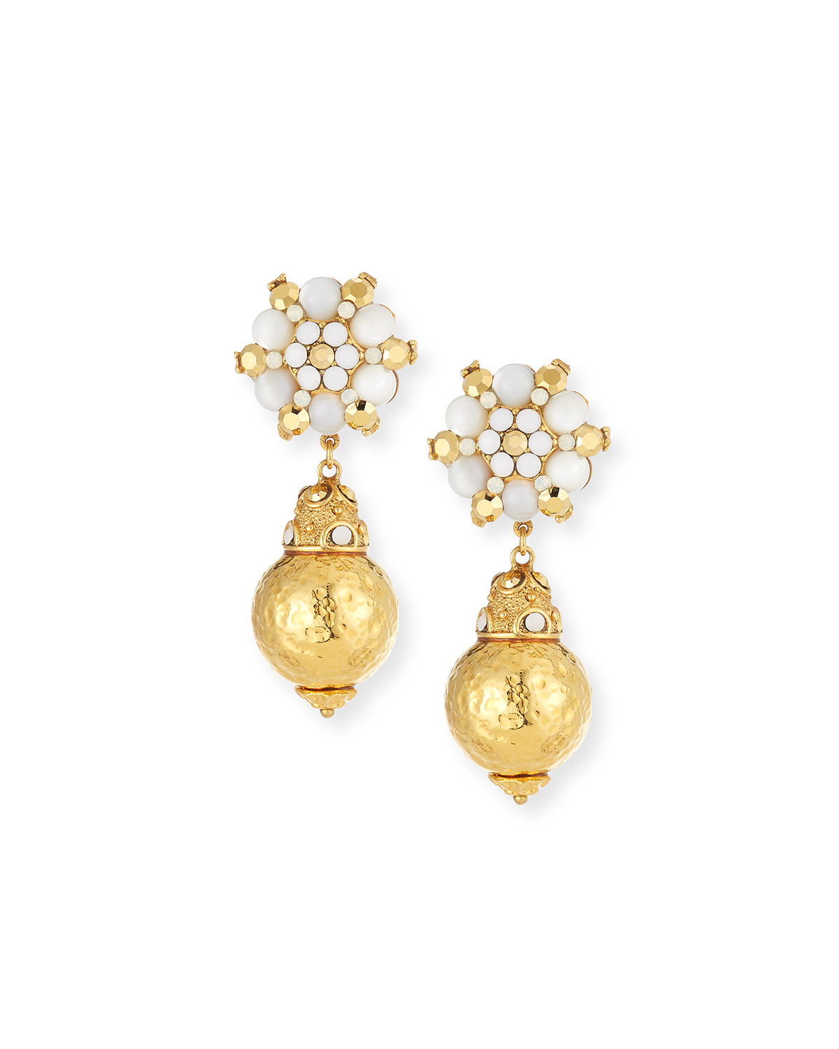 Jose & Maria Barrera Beaded Flower Drop Earrings YQaE0m