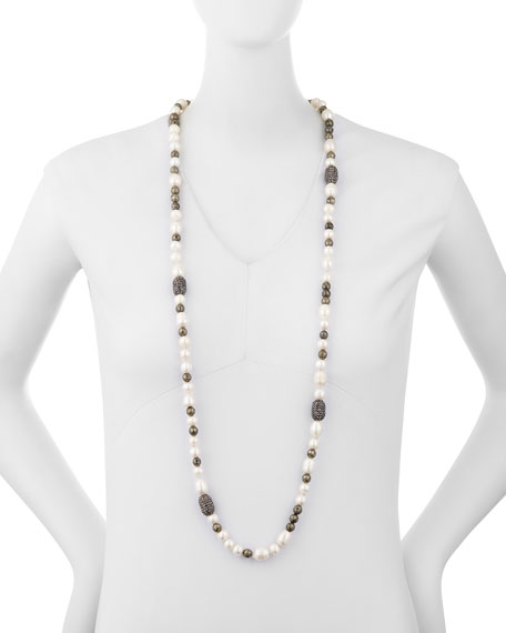 Mychelle Pearly Bead & Rhinestone Necklace, 43""