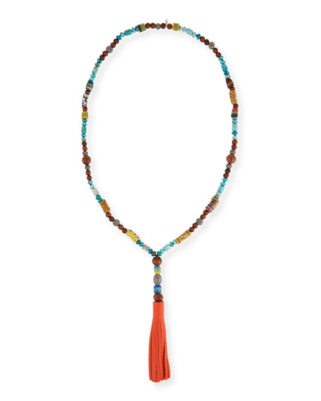 Hipchik Ida Beaded Necklace w/Leather Tassel, 43
