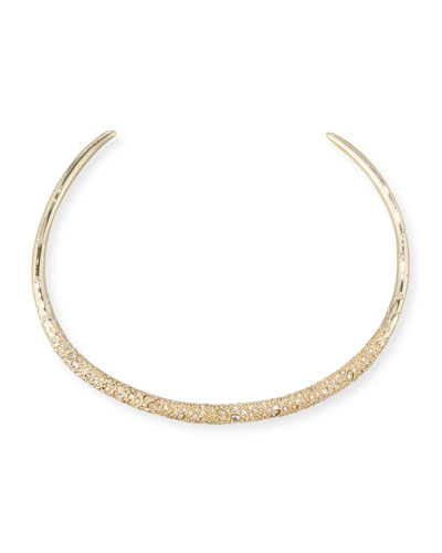 Crystal-Encrusted Collar Necklace, Golden