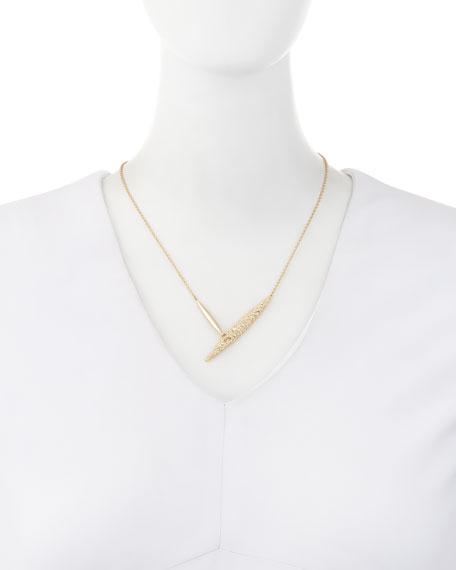 Crystal-Encrusted Modernist Spear Necklace