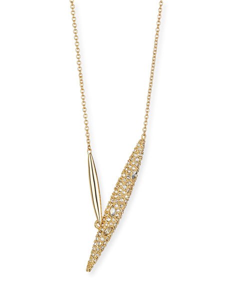 Crystal-Encrusted Modernist Spear Necklace
