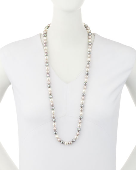 Multihued Simulated Pearl Necklace, White/Gray, 34""