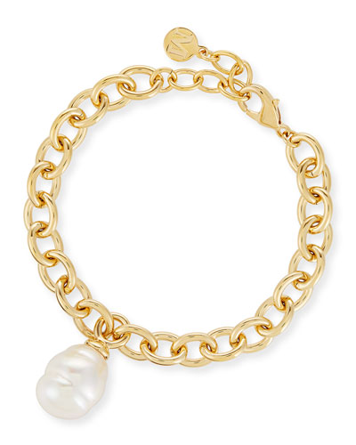 Golden Chain Bracelet with Baroque Pearl Charm