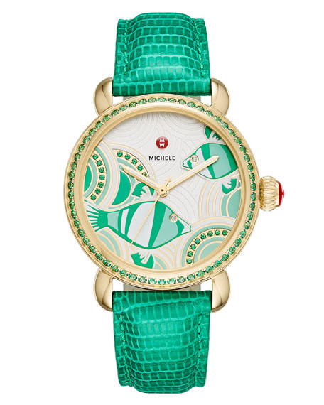 Seaside Topaz Fish Dial Watch with Diamonds, Emerald