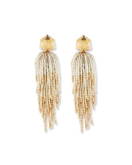 Golden Beaded Tassel Drop Earrings