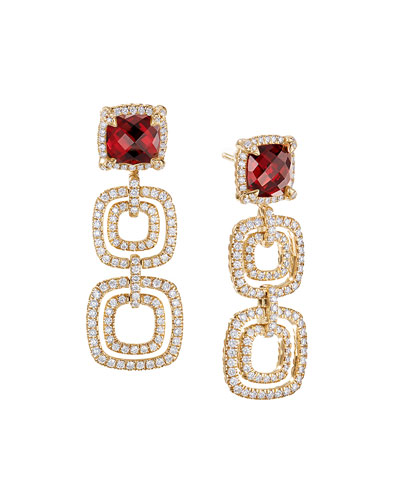 Châtelaine Three-Drop Garnet Earrings with Diamonds