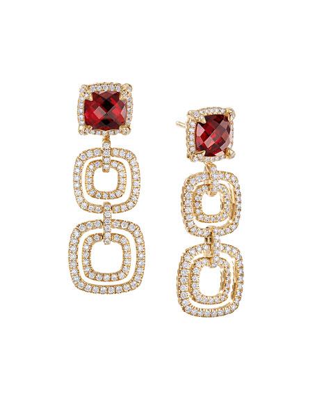 Châtelaine Three-Drop Garnet Earrings with Diamonds
