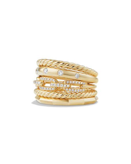 Stax 18k Gold Wide Ring with Diamonds, Size 6