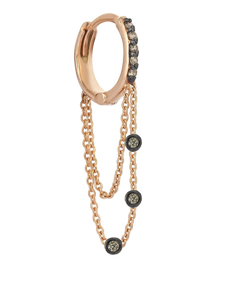 Colors 14K Rose Gold Triple-Chain Hoop Earring with Champagne Diamonds, Each