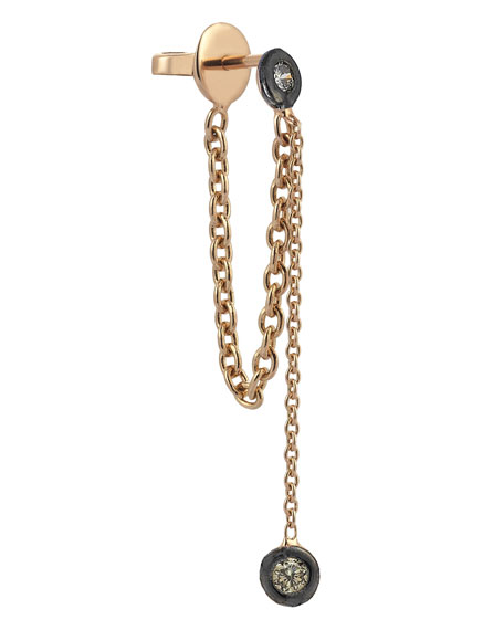 Colors 14K Rose Gold Chain Earring with Champagne Diamonds, Each