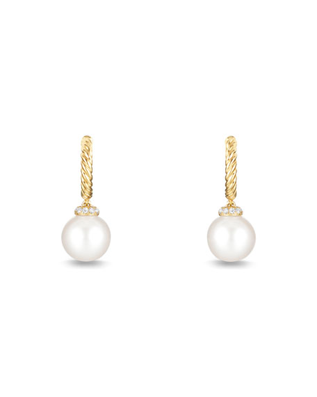 Solari 18K Gold & Pearl Earrings with Diamonds