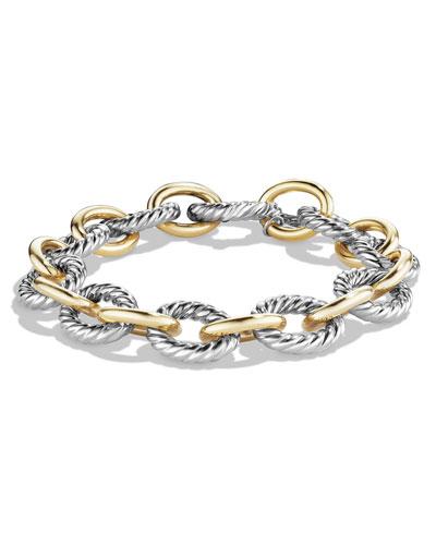 Large Oval Link Chain Bracelet, Silver/Gold