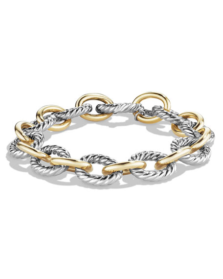 David Yurman Large Oval Link Chain Bracelet, Silver/Gold