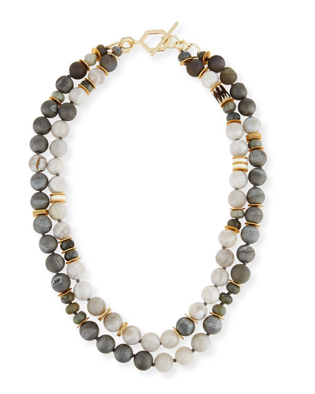 Akola Two-Strand Druzy & White Agate Necklace