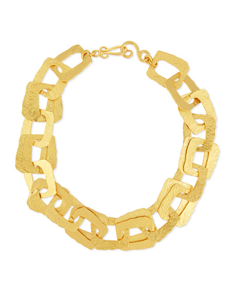 Structure 24K Hammered Link Necklace