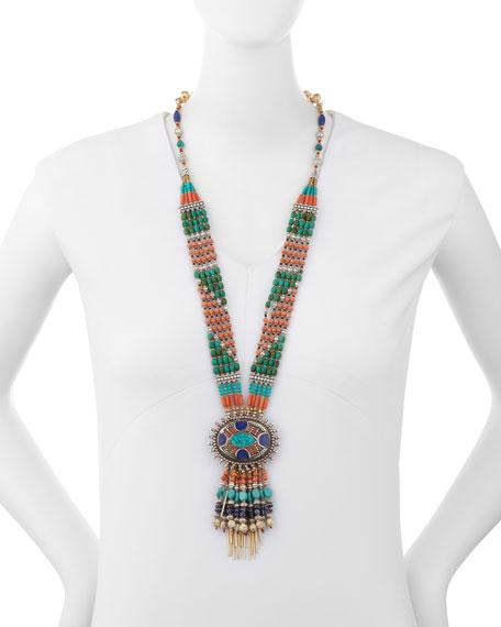 Beaded Fringe Pendant Necklace
