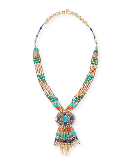 Devon Leigh Beaded Fringe Pendant Necklace