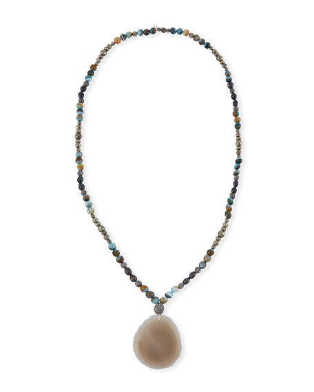 Hipchik Indie Beaded Labradorite, Pyrite & Pearl Necklace