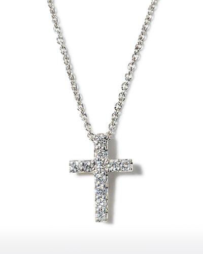 18k Small Diamond Cross Pendant Necklace