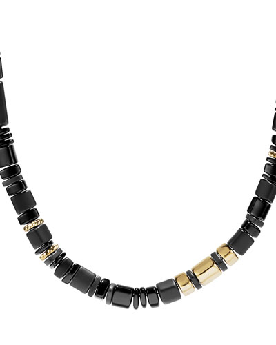 Bead Nevelson Necklace with Black Onyx in 18K Gold, 36