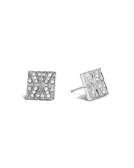 John Hardy Modern Chain Diamond Square Earrings