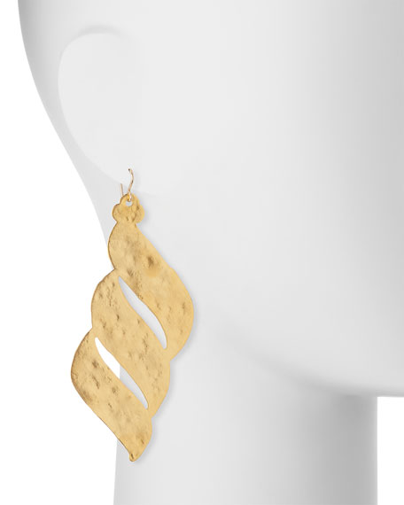 Hammered Golden Wave Earrings