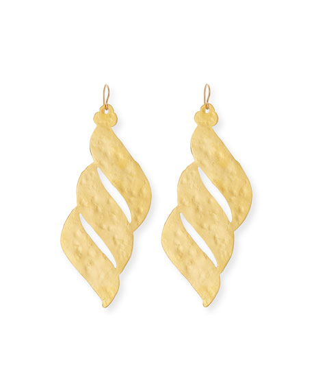 Devon Leigh Hammered Golden Wave Earrings