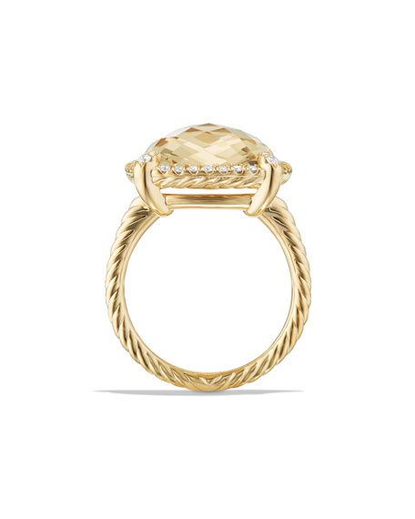 14mm Châtelaine 18K Champagne Citrine Ring with Diamonds, Size 6