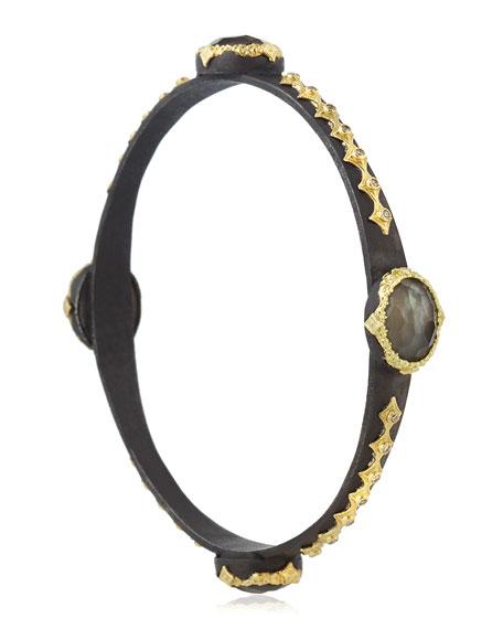 Scalloped Bangle Bracelet with Smoky Quartz Doublets