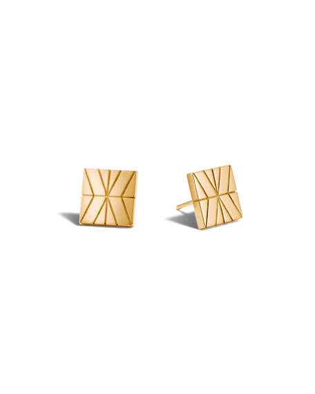 Modern Chain 18K Gold Stud Earrings
