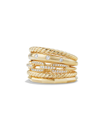 Stax 18k Gold Wide Ring with Diamonds, Size 8