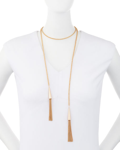 Phara Double-Wrap Rose Golden Lariat Necklace