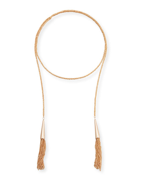 Kendra Scott Phara Double-Wrap Rose Golden Lariat Necklace