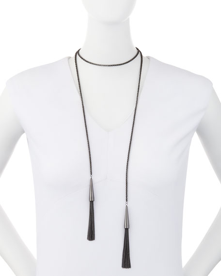 Phara Double-Wrap Lariat Necklace in Gunmetal