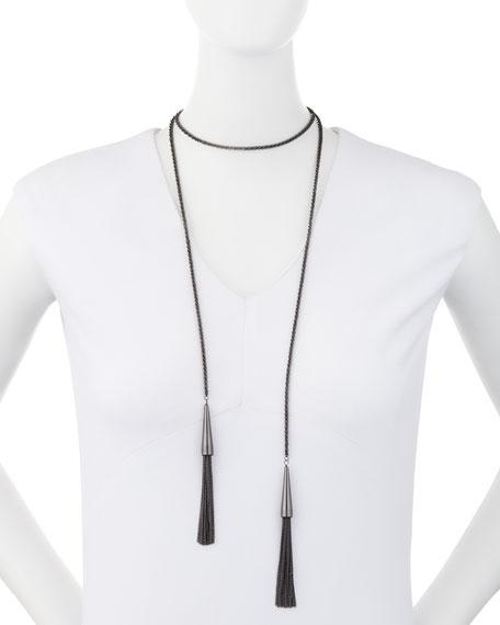 Phara Double-Wrap Lariat Necklace in Gunmetal