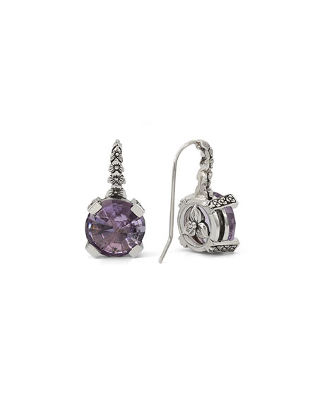 Stephen Dweck 12mm Faceted Amethyst Drop Earrings