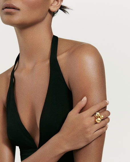 Solari Cluster Ring with Diamonds in 18K Gold, Size 6