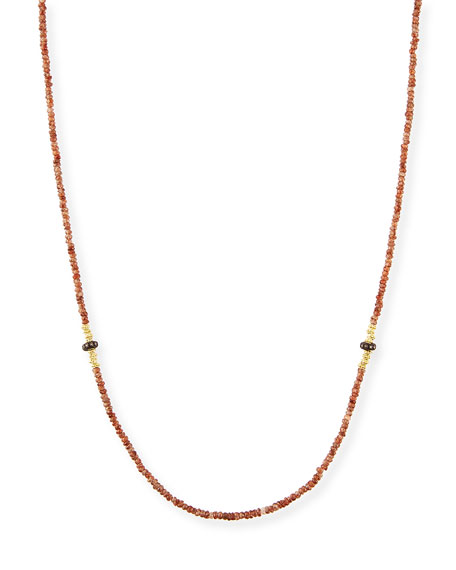 Old World Beaded Zircon Necklace with Diamonds, 42""