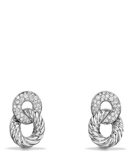 16.5mm Belmont Link Earrings with Diamonds in 18K White Gold