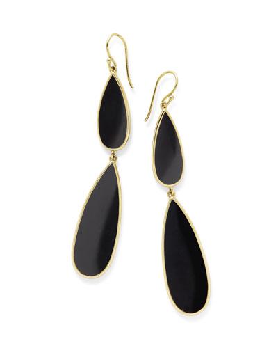 18K Polished Rock Candy Double-Drop Earrings in Onyx