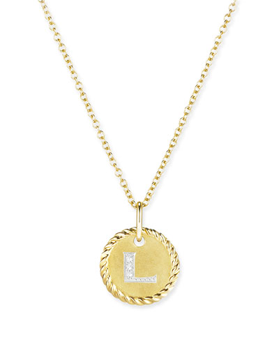 Cable Collection 18k Diamond Initial Charm Necklace, L