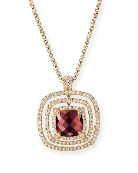 26mm Châtelaine 18K Faceted Garnet Bezel Enhancer with Diamonds