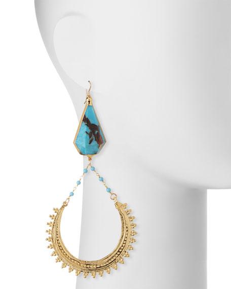 Bronzite Turquoise Hoop Drop Earrings