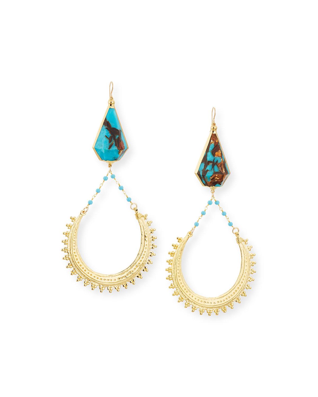 Devon Leigh Bronzite Turquoise Hoop Drop Earrings jMtgWKn