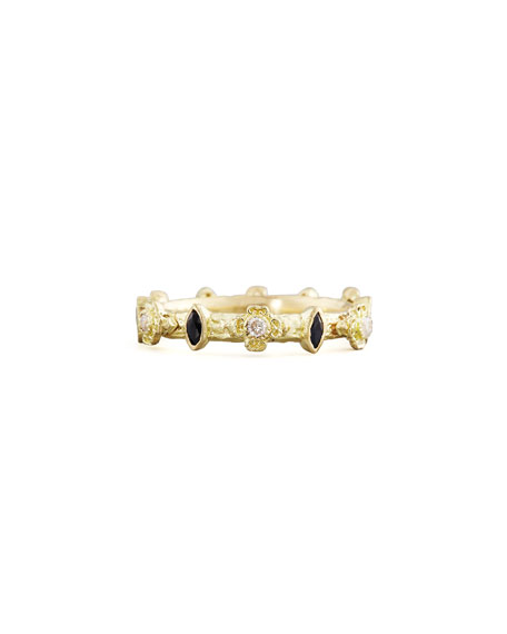 Armenta Yellow Gold Diamond & Marquise Sapphire Stack