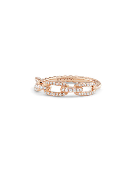 Stax Pave Diamond Chain Link Ring in 18K Rose Gold, Size 8