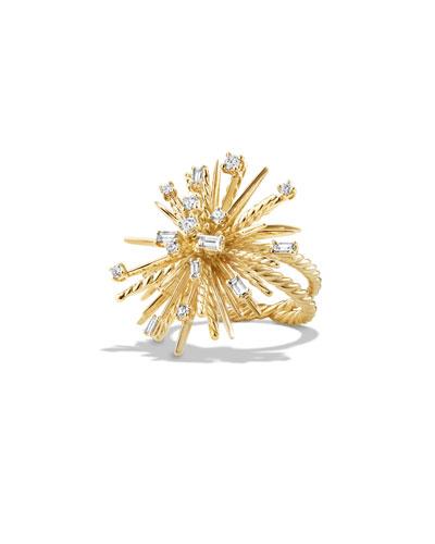 Supernova Mixed-Cut Diamond Spray Ring in 18K Gold, Size 6