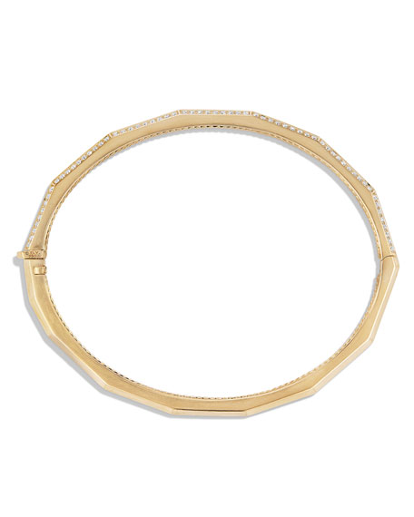 Stax 18k Gold Faceted Bracelet with Diamonds, Size M